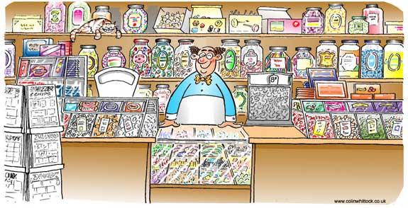 Old Fashioned Sweet Shop Cartoon