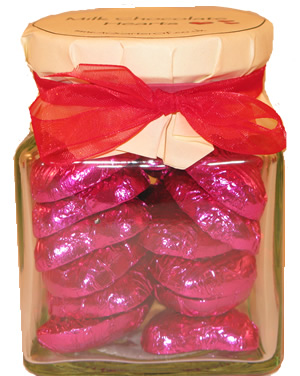 Glass Gift Jar of Chocolate Hearts – Fuchsia Pink