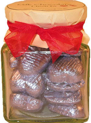 Glass Gift Jar of Chocolate Hearts – Luscious Lilac