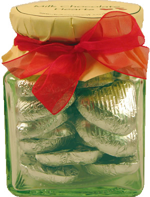 Glass Gift Jar of Chocolate Hearts – Matt Silver