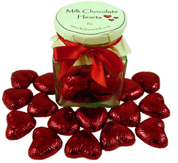 Glass Gift Jar of Chocolate Hearts – Ruby Red