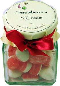 GLASS GIFT JAR OF STRAWBERRIES AND CREAM,gelatine-free gelatin free strawberry strawberries jars Boiled   Crunchy  Gift Ideas  Fruit  Gifts  Jars of Delights  Cream  Strawberry  Boiled & Crunchy sweets,retro sweets,retro sweetshops,liquorice sweets,toffees,toffee sweets,boiled sweets