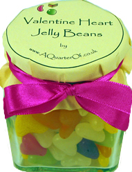 Glass Gift Jar – Valentine Heart Jelly Beans