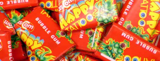 HAPPY TATTOO BUBBLEGUM,wrapped  Chewy   Soft  Penny   Fun  Gum  Bubblegum  Chewy & Soft  Penny & Fun,retro sweets,retro sweetshops,liquorice sweets,toffees,toffee sweets,boiled sweets