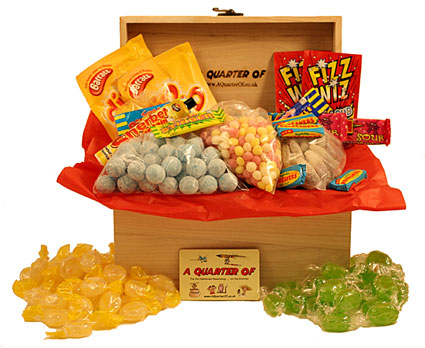 A MEDIUM WOODEN BOX BURSTING WITH SOUR FIZZINESS!,sour fizzy acid sour gifts gift giftbox sherbet,retro sweets,retro sweetshops,liquorice sweets,toffees,toffee sweets,boiled sweets
