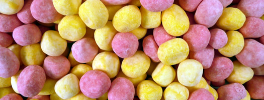 RHUBARB AND CUSTARD BONBONS,Chewy   Soft  Fruit  Toffee  Bonbons  rhubarb  Custard  Chewy & Soft  sweets bon bon  pink yellow bonbon,retro sweets,retro sweetshops,liquorice sweets,toffees,toffee sweets,boiled sweets