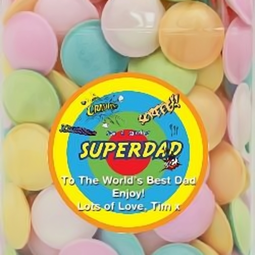 Personalised Full Sized Sweetshop Jar Of Flying Saucers