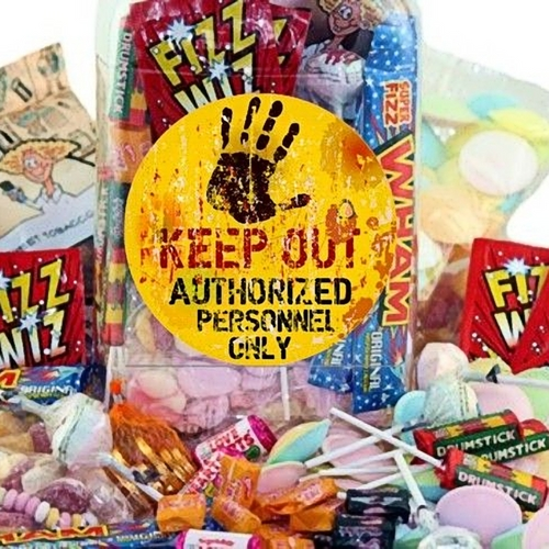 Retro Sweets Selection Jar with Keep Out Label
