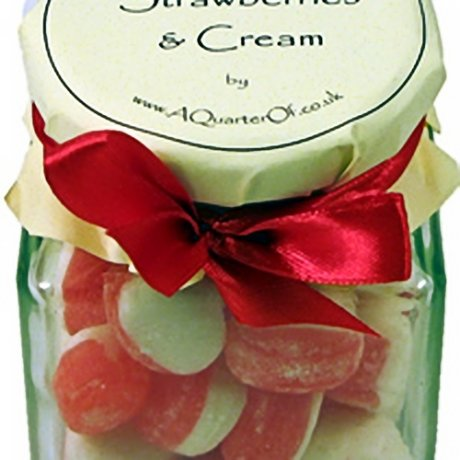 Strawberries and Cream Glass Gift Jar