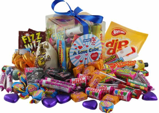 Image of A Love Cube Packed with Retro Sweets - for Him