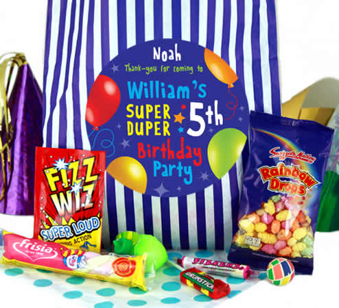 Fabulous Personalised Party Bags for Boys - Blue Stripes