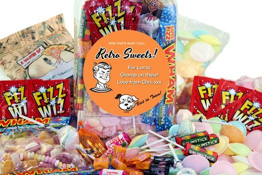 Personalised Jar of Retro Sweet Classics - with 20+ Designs