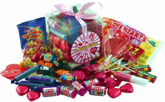 A Love Cube Packed with Retro Sweets - for Her